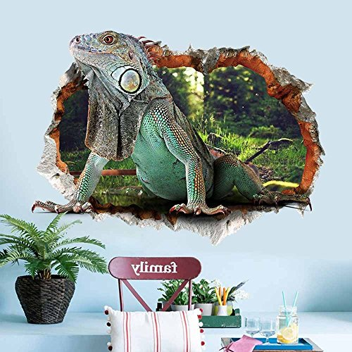 Lizards Mural - Aibote 3D Wall Decal Lizard Mural Home Window Ceiling Decor Removable Stickers Decorations Wallpaper For Boys Girls Room Kids Bedroom Floor Walls Living Room(50x70CM)