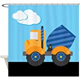 CafePress - Blue Cement Truck Kids Shower Curtain - Decorative Fabric Shower Curtain