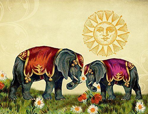 Elephants in Love Retro Collage Fine Art Print - Animal Wall Decor