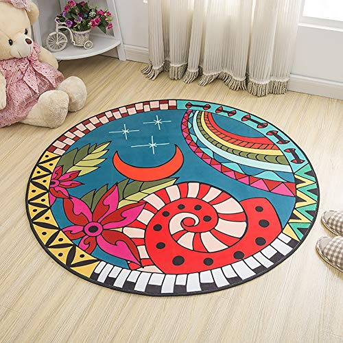 - Chair Floor Mat Printed Round Carpet for Living Room Children Bedroom Play Area Outdoor Rugs Home Textile,D,80CM
