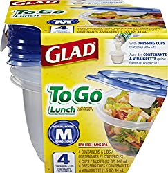 Glad Food Storage Containers - To Go Lunch Containers - 32 Ounce - 4 Count