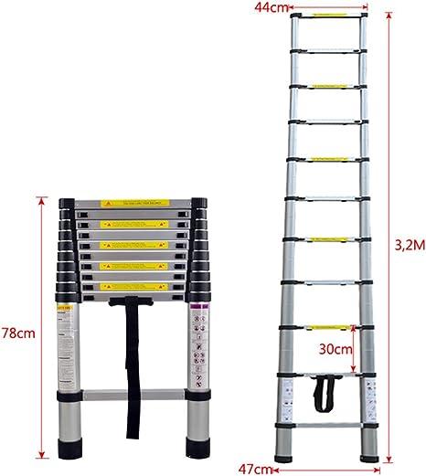LARS360 3.2m Escalera Telescópica Multifunción Escalera extensible multiusos Plegable Escaleras Alto de llamas aluminio: Amazon.es: Bricolaje y herramientas