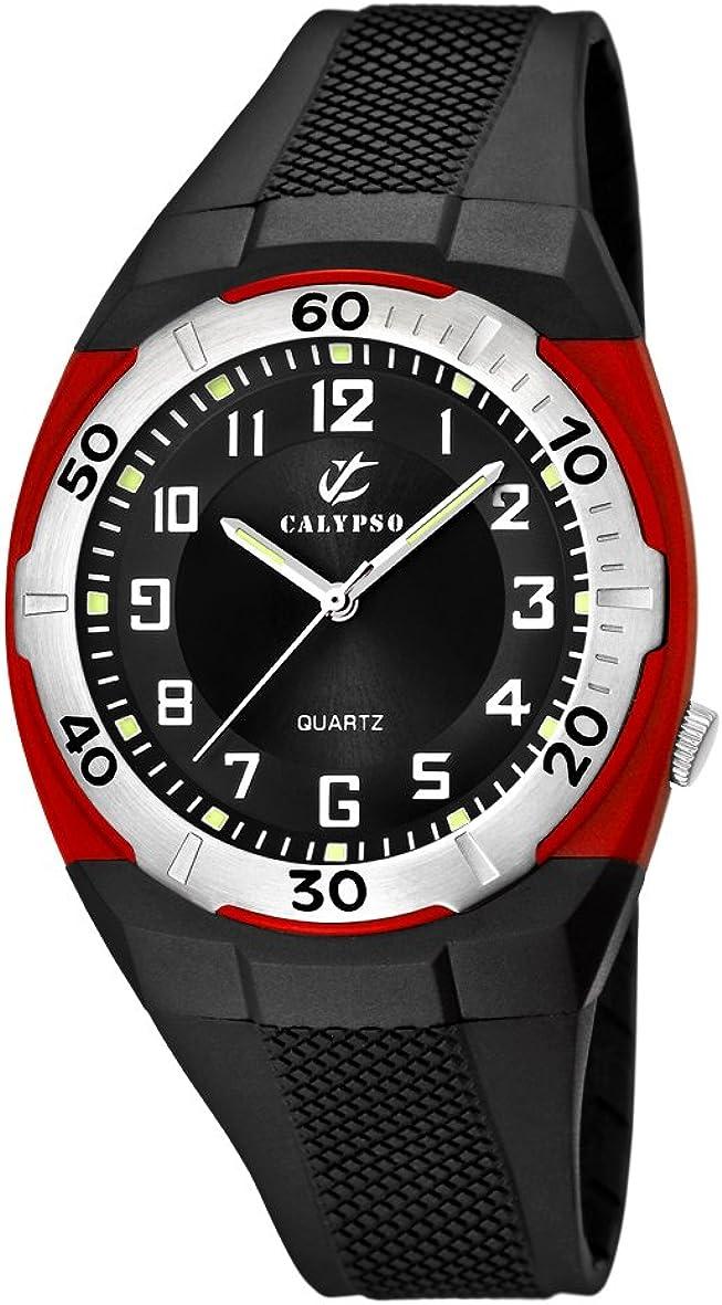 Calypso K5214/4 - Reloj analógico de caballero de cuarzo con correa de plástico negra - sumergible a 50 metros