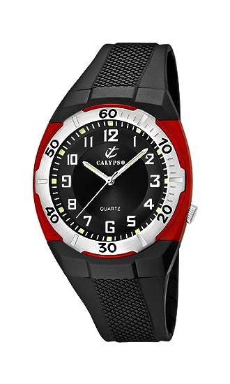 Calypso K5214/4 - Reloj analógico de caballero de cuarzo con correa de plástico negra - sumergible a 50 metros: CALYPSO: Amazon.es: Relojes