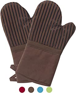 Oven Mitts 1 Pair of Quilted Cotton Lining - Heat Resistant to 500 Degrees Kitchen Gloves,Flame Oven Mitt Set (Brown, Cotton)