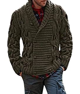 Men/'s Hooded Cardigan Casual Long Sweater Shawl Knitted Jumper Toggle Coat