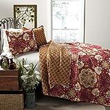 Lush Decor Addington 3-Piece Quilt Set, King, Red