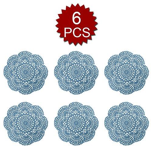 Aspire 8 inches 6pcs/set Handmade Crochet Lace Round Tablecloths Cotton Hollow Decorative Doilies-Light (Light Blue Placemat)