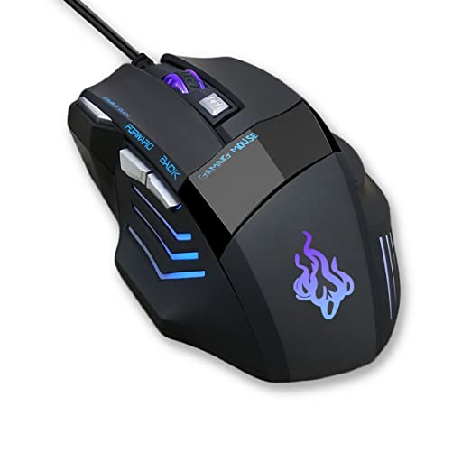 Review Queender Professional Gaming mouse wired with 7 Button, 4 Adjustable DPI Levels Ergonomic Optical Mice , 7 Circular & Breathing LED Light, Wired Mouse Used for games and office[ Black ]