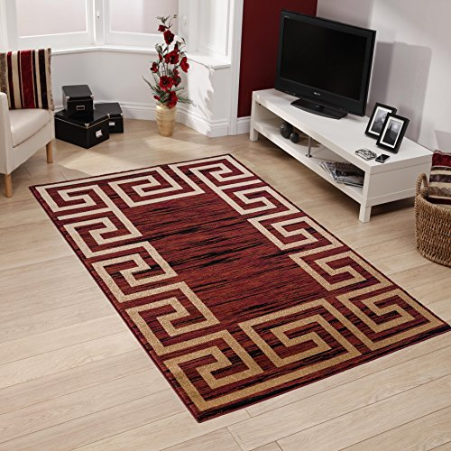 All New Modern Contemporary Geometric Design Area Rug Empire Collection by Rug Deal Plus (5' x 7', Burgundy/Beige) ()