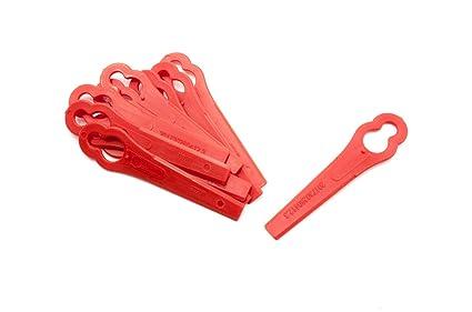 vhbw Cuchilla también Cuchillo de Repuesto plástico Rojo para cortacésped cortabordes o Robot cortacésped Einhell GE