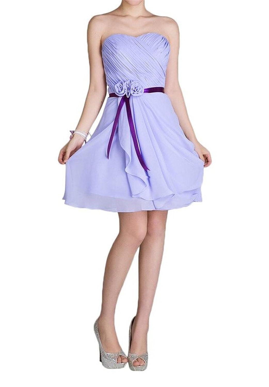 AngelDragon Strapless Lavender Bridesmaid Dress Chiffon Short Homecoming Prom