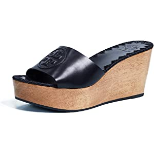50a5a722148 Tory Burch Patty Leather 80MM Slide Wedges in Black