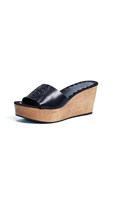 d3aeccddc6a0d Tory Burch Patty Leather 80MM Slide Wedges in Black Size 8