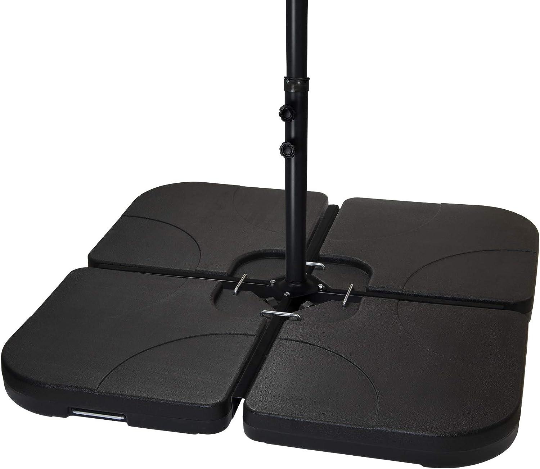 BB Sport Peso de la sombrilla Base para sombrilla 4 Partes por Parasol Base Cruzada Negro 60 litro / 80 kg - para llenar de Agua o Arena