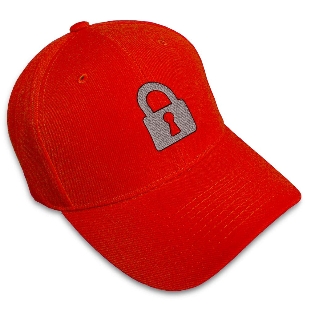 Custom Baseball Cap Silver Padlock Embroidery Acrylic Dad Hats for Men /& Women