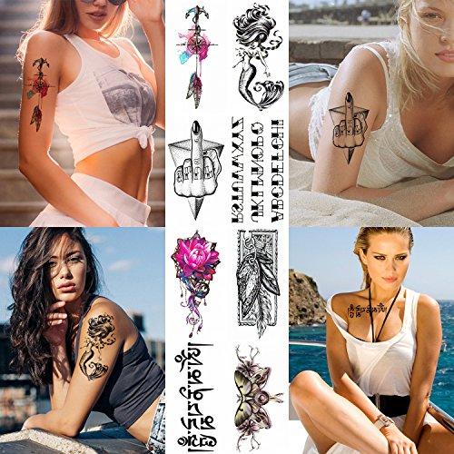 8 Sheets Tribal Temporary Tattoo Sticker For Women Girls Models Adults - Waterproof Long Lasting Body Art Makeup Sexy Realistic Arm Tattoos - Flower Hands Feather Alphabet Mermaid Butterfly]()