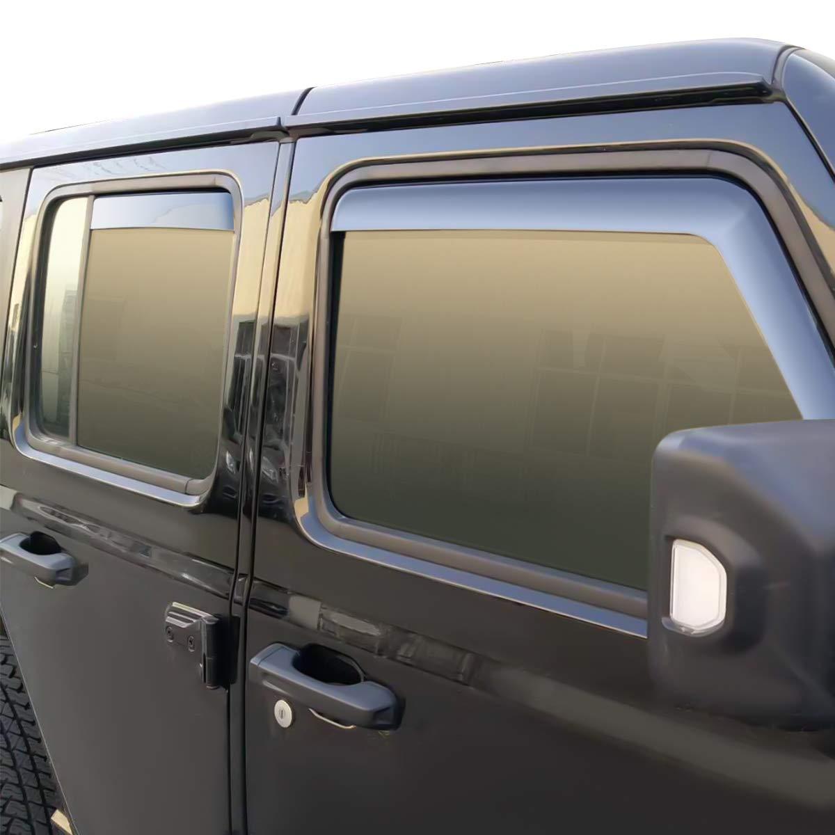Spurtar Window Visor In-Channel Side Window Deflectors Windshield for 2007-2017 Jeep Wrangler Jk Dark Tint 4Pcs Set Rain /& Wind Guard Sun Shade Visor 4-Door