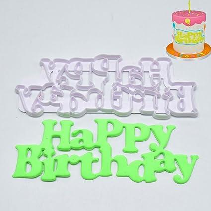 "Molde para repostería ZHOUBA con texto en inglés""Happy Birthday"", de plástico,"
