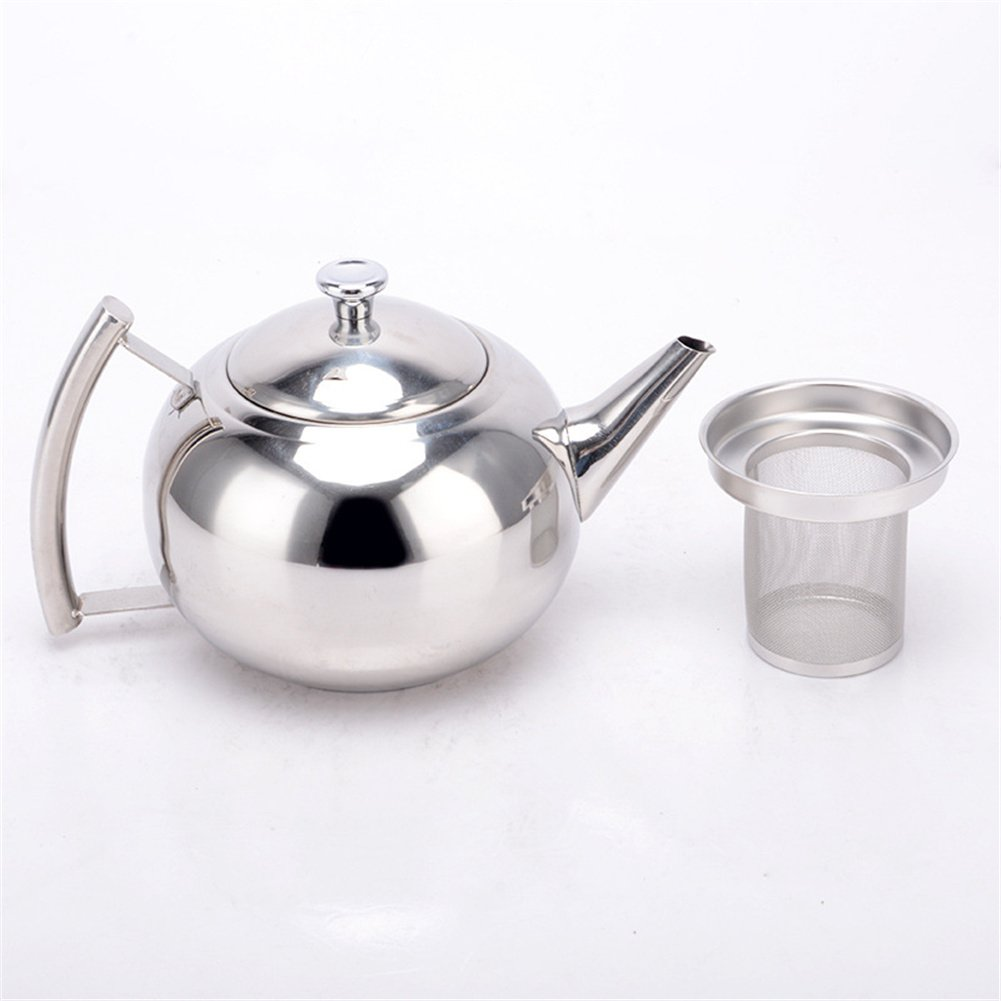 Tea Kettle Stainless Steel Teapot, Polished Small Spout with Well-made Strainer, Home Hotel Large Capacity 1.5 Litre Exquisite Pot for Drip Coffee or Tea by wonderfulwu