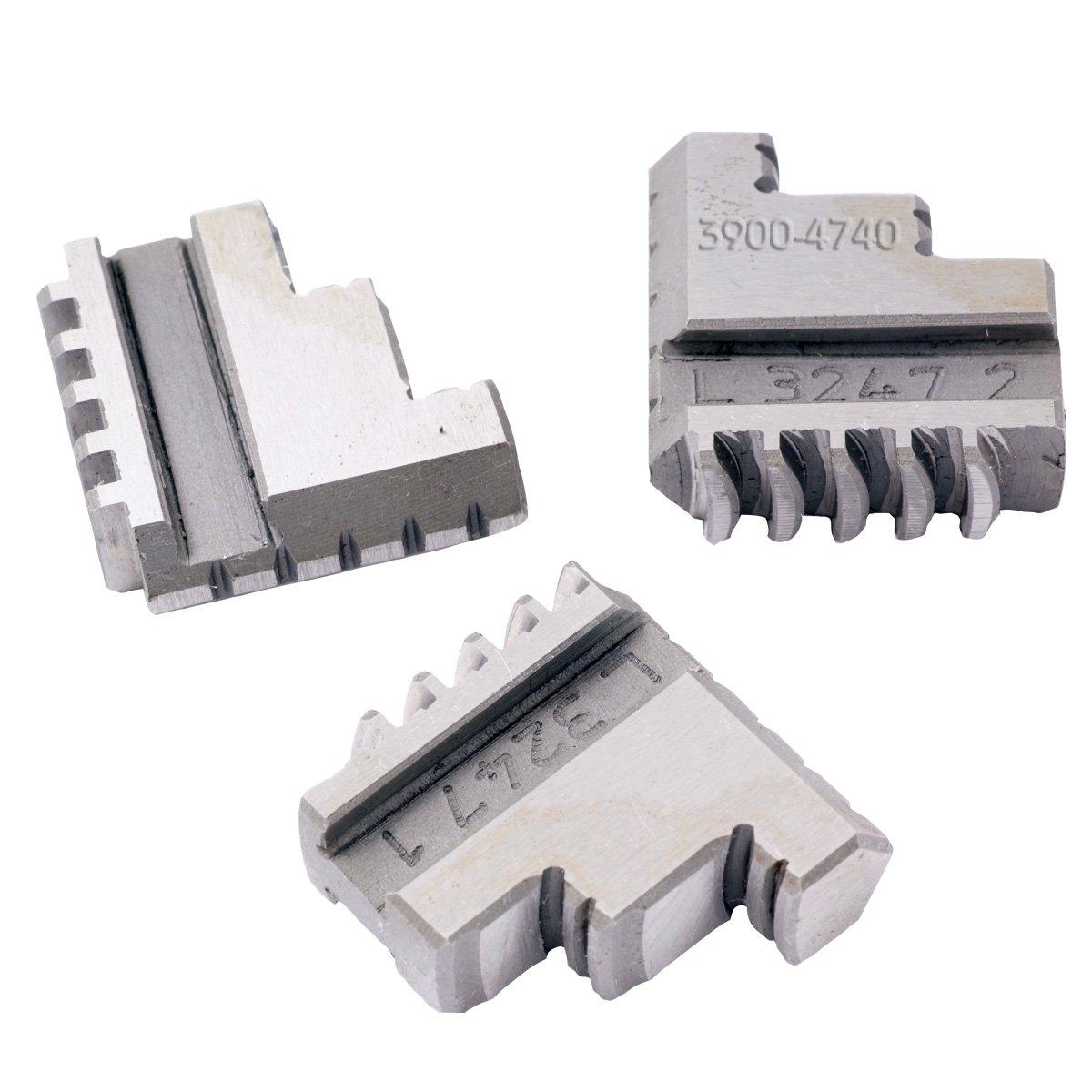 HHIP 3900-4740 3 Piece Steel Internal Hard Jaw Set for 3'' 3-Jaw K11 80 Lathe Chuck