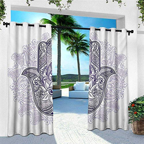 leinuoyi Evil Eye, Outdoor Curtain Panels Set of 2, Spiritual Protection Symbol Ornate Hamsa on Mandala Inspired Paisley Backdrop, for Pergola W96 x L96 Inch Purple Lavander