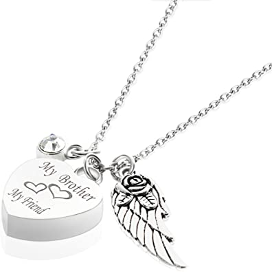 GIONO Cremation Jewelry for Ash Urn Necklace for Men Birthstone/&Angel Wing Memorial Keepsake Heart Pendant
