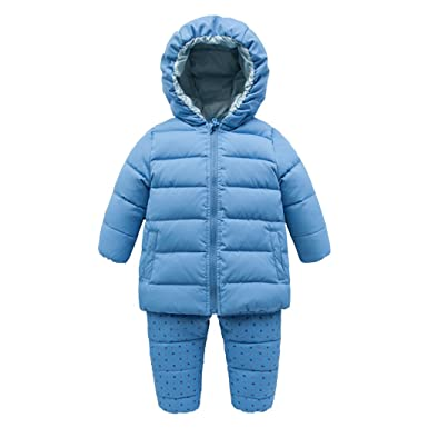 a2da05d8d Baby Snowsuits Set Hooded Down Jacket with Overalls Infant Thick Winter  Outfits Outwear Set, 6-9 Months: Amazon.co.uk: Clothing