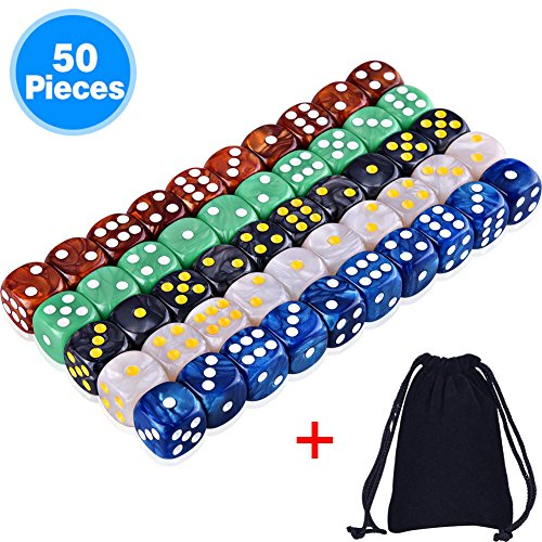 AUSTOR 50 Pieces 6 Sided Game Dice Set 5 Pearl Colors Rounded Edges Dice with a Free Pouch ()