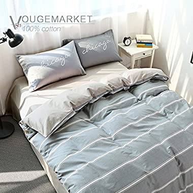 Vougemarket Minimalism Series 3 pieces Cotton Duvet Cover Set (1 Duvet Cover + 2 Pillow Shams),Simple Striped Pattern Bedding Set-King,Stripe 7