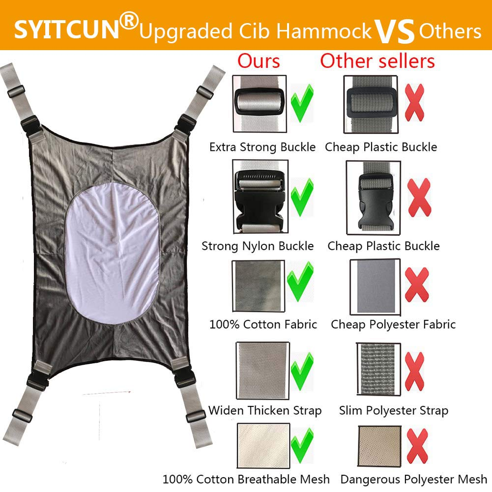 Baby Hammock for Crib Mimics Womb Newborn Bassinet Strong Material Upgraded Safety Measures Infant Nursery Travel Bed Reduce Environmental Risk Associated with Early Infancy Baby Shower Gift by SYITCUN (Image #6)