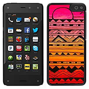Amazon Fire Phone Único Patrón Plástico Duro Fundas Cover Cubre Hard Case Cover - Abstract Ink Art Black Colorful Sunset Pink