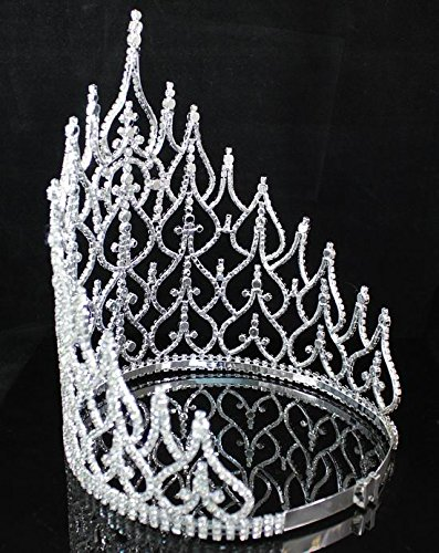 Beauty Queen Crown Tiara Clear Austrian Rhinestone Crystal Pageant Large T1413 by royal*wedding (Image #4)