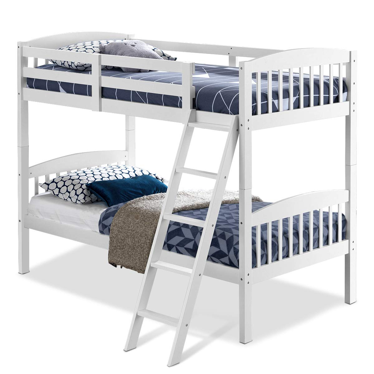 Costzon Twin Over Twin Bunk Beds, Convertible Into Two Individual Solid Wood Beds, Children Twin Sleeping Bedroom Furniture W/Ladder and Safety Rail for Kids Boys & Girl (White)