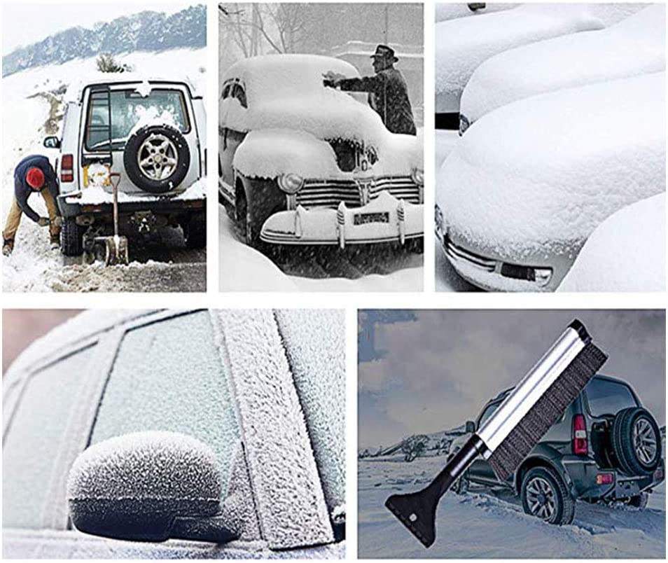 Extendable Car Snow Brush Ice Scraper Stiff Bristle Brush and Aluminium Design Scrape Frost and Ice for Truck SUV for Car Windshield and Window Ice Remover for Windshield Deicing Shovel Tool