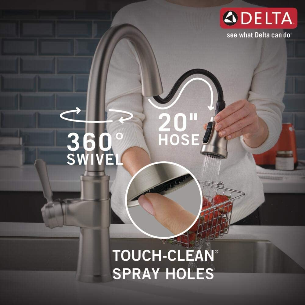 Delta Faucet Spargo Single-Handle Kitchen Sink Faucet with Pull Down Sprayer, ShieldSpray Technology and Magnetic Docking Spray Head, SpotShield Stainless 19964Z-SPSD-DST - -