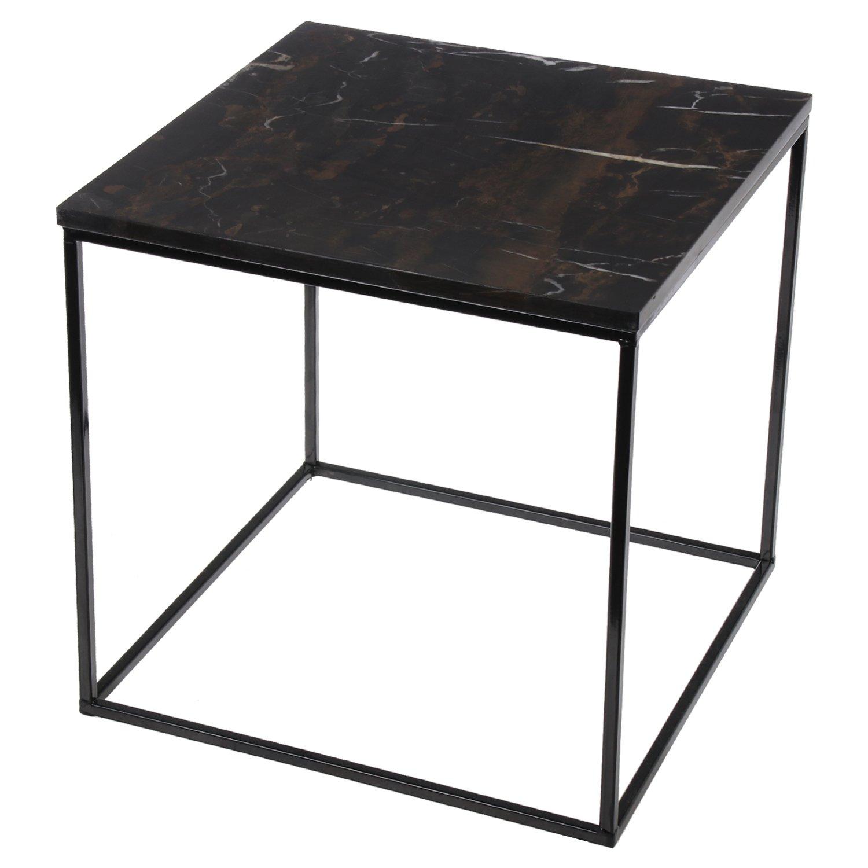 DRW DonRegaloWeb - Beistelltisch - Quadratischer Tisch aus Metall mit Marmor in Schwarz