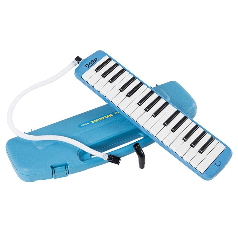 Melodica Musical Instrument 32 Keys Piano Keyboard Style Melodica With Portable Carrying Case Kids Musical Instrument Gift Toys For Music Lovers Beginners Mouthpieces Tube Sets Blue Pink for Music Lov