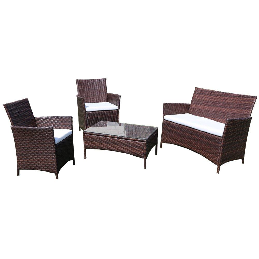 ラタン調 ガーデンテーブル&ソファー4点セット