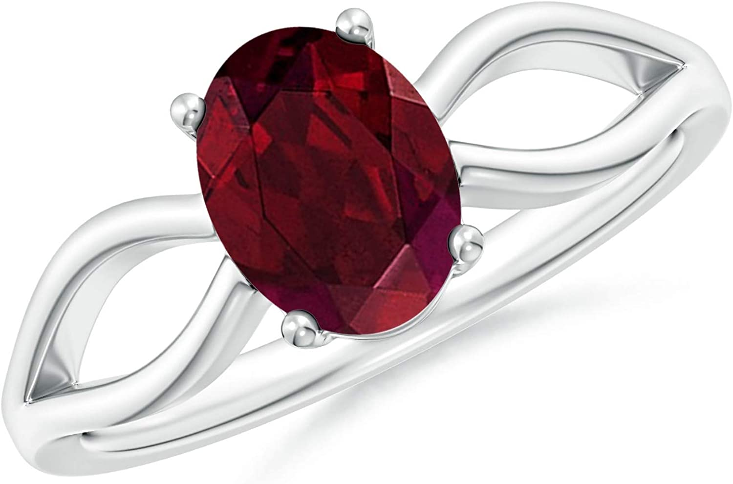8x6mm Garnet Prong-Set Solitaire Natural Garnet Split Shank Ring