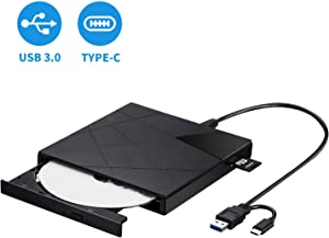 LeeKooLuu External DVD & CD Drives with USB 3.0 and Type-C Interface/Portable CD-RW/DVD-RW Burner and Reader and Writer Optical DVD Drive for Win10/XP/Win 7/Win 8/Vista, Laptop, Mac, MacBook Air/Pro