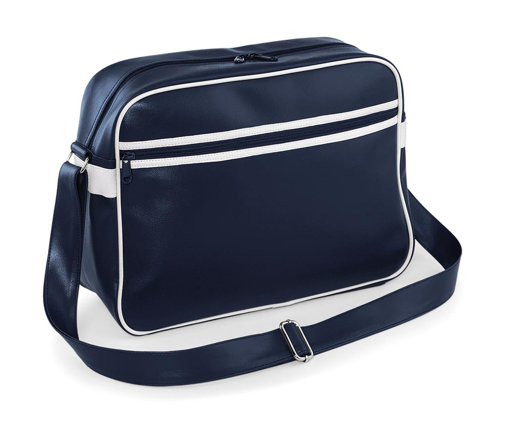 BagBase Unisex's BG091FNWH Original Retro Messenger French Navy/White Bg091, Medium