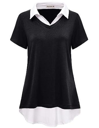 16cb431d859ba0 Miss Fortune Collared Shirts for Women Elegant,Ladies Summer 2 Fer Tops  Short Sleeve Petite