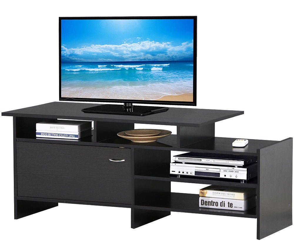 New Black TV Stand for Flat-Panel TV Entertainment Unit 4 Open & 1 Close Compartment