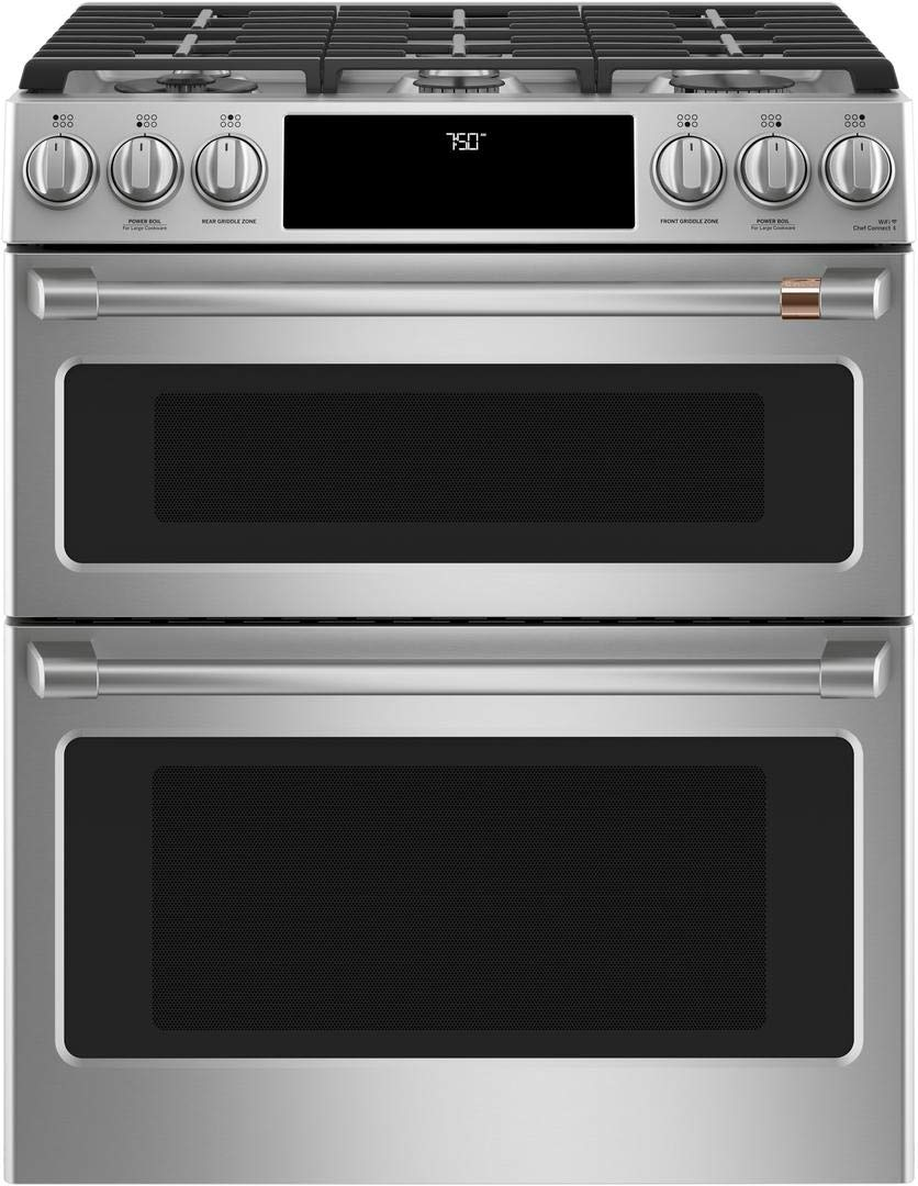 Cafe 30'' ADA Slide-In Front Control Gas Double Oven With Convection Range