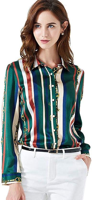 CISULI - Camisa de seda para mujer, de verano, estampada, talla 4XL: Amazon.es: Ropa y accesorios