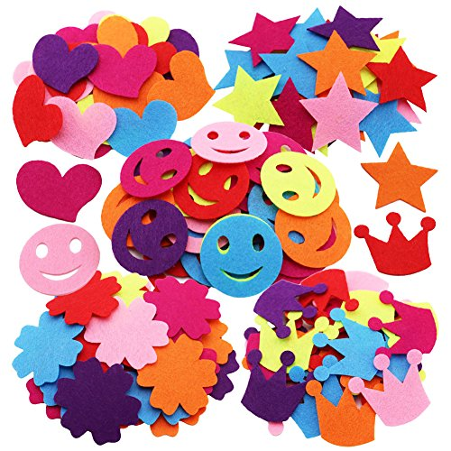 SOOKOO 5 Styles 150 PCS Assorted Color Felt Flowers for Art and Craft DIY Sewing Handcraft (Heart, Flower, Smile Face, Star, Crown)