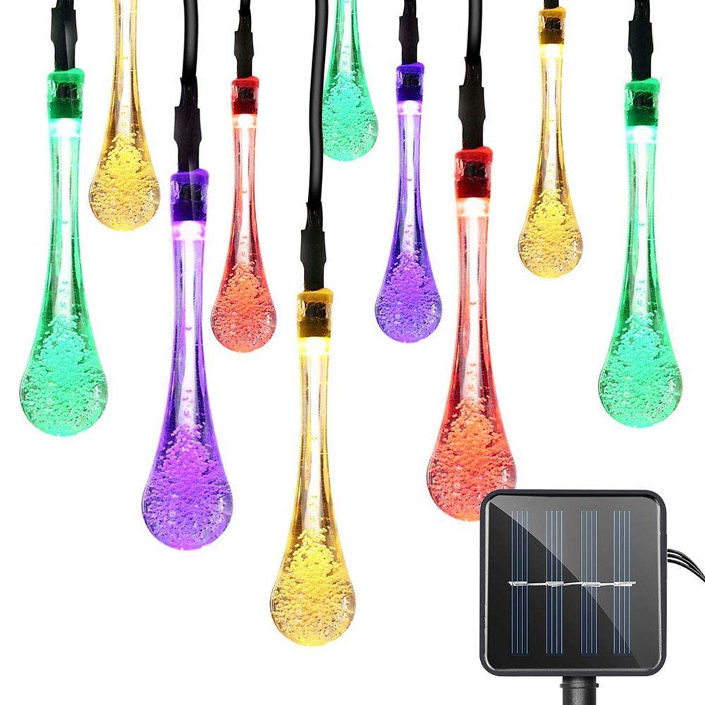 Lareinae Solar String Lights, Outdoor Waterproof Fairy Light 19.7ft 30 LED Multi Color Waterdrop Lighting for Christmas, Garden Patio Indoor Party, Bedroom, Xmas, Yard, Proch Decoration by Lareinae