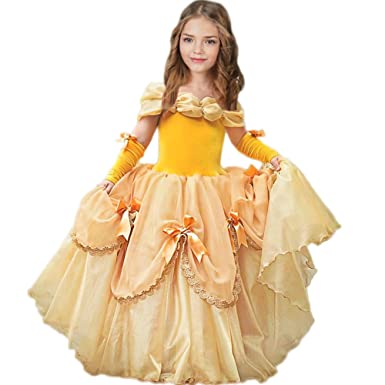 a8dd828d529 Amazon.com  CQDY Belle Costume for Girls Yellow Princess Dress Party  Christmas Halloween Cosplay Dress up 2-13 Years  Clothing