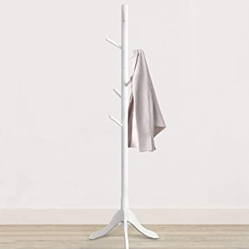 Handbags Easy Assembly Hallway Entryway Tree with Solid Base for Hat Free Standing Wooden Coat Rack Bamboo Coat Rack Tree with 8 Hooks Scarves Entryway Coat Hanger Stand Clothes Umbrella